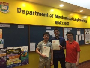 Hammad Ali Faizi with feloow student San To Chan and their supervisor Professor Anderson Shum.